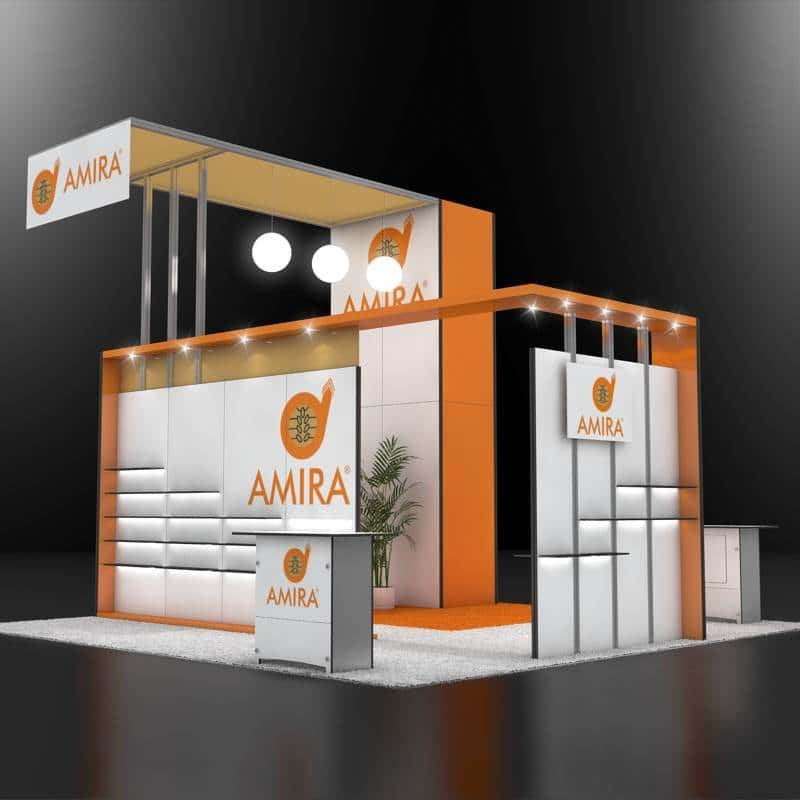 20x20 trade show booth for amira foods