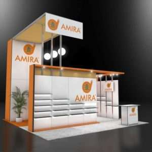 20x20 rental exhibit with product display shelves and high branding