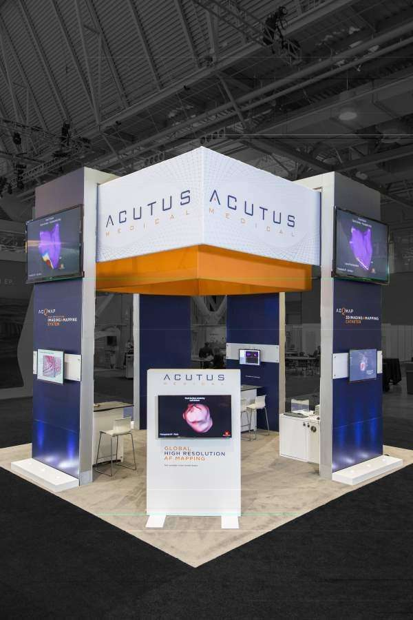 Acutus Medical 20x20 trade show booth in Boston