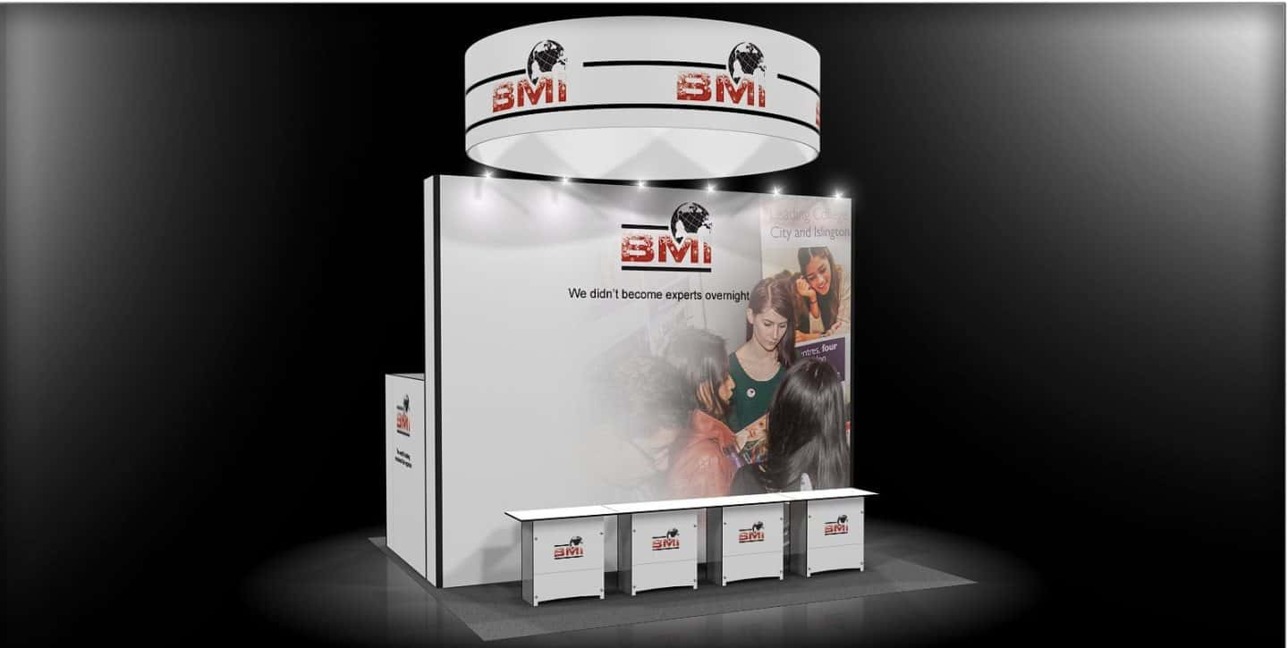 20x20 trade show rental booth for BMI