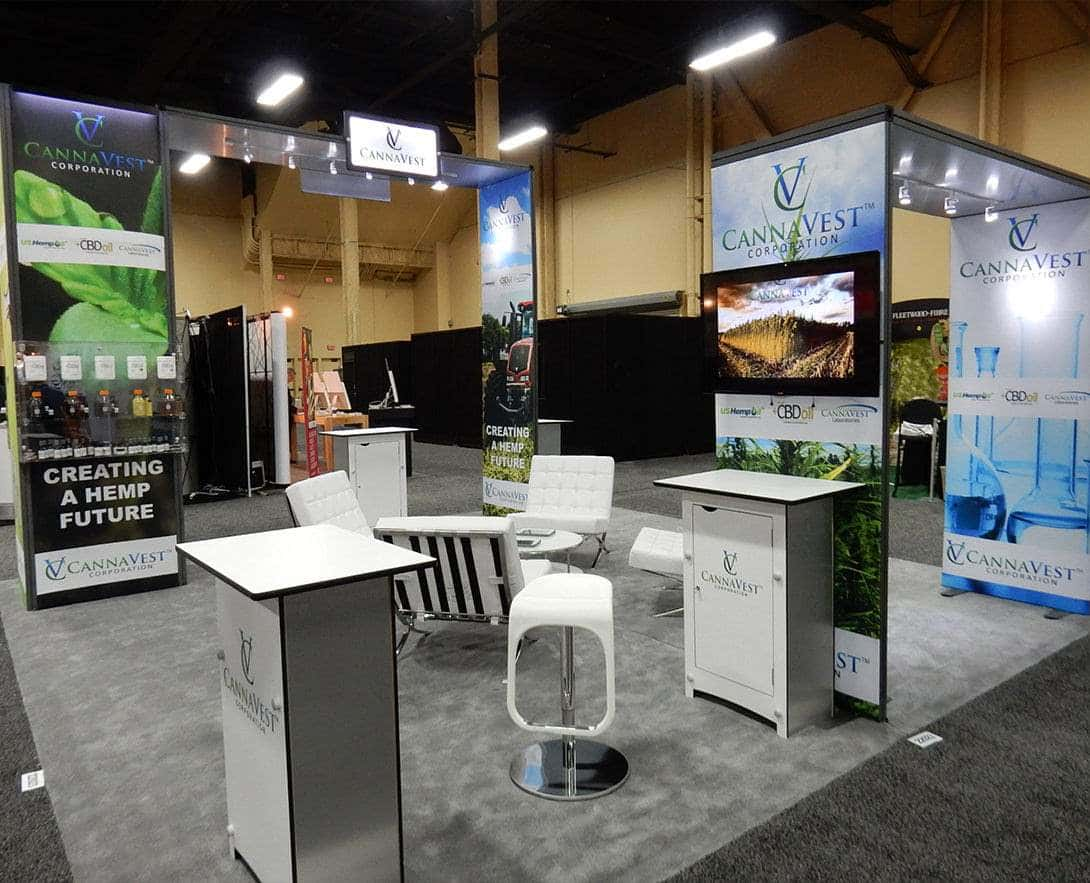 20x20 trade show booth for cannavest @ Supply Side west, Las vegas