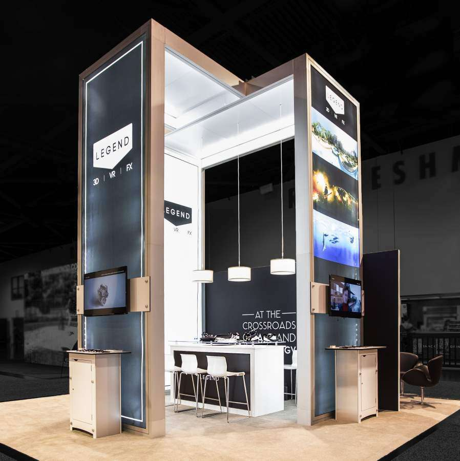 20X20 CUSTOM RENTAL BOOTH FOR LEGEND 3D @ SIGGRAPH, ANAHEIM CONVENTION CENTER