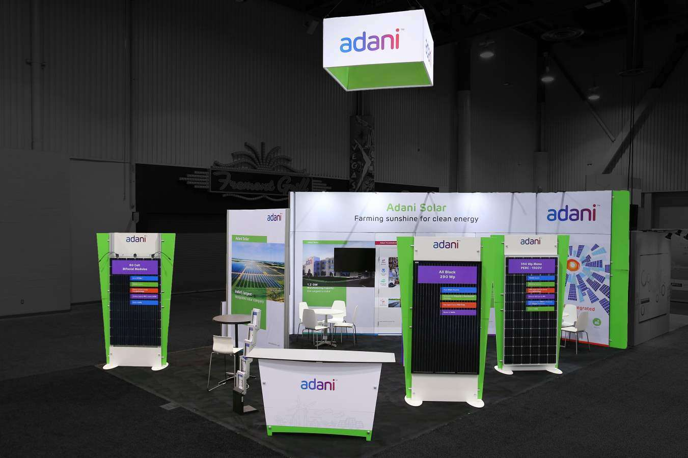 20x30 rental booth for Adani Solar at Solar Power International , las vegas